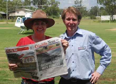 Premier Anna Bligh (left) with reporter Graham Osborne (right)