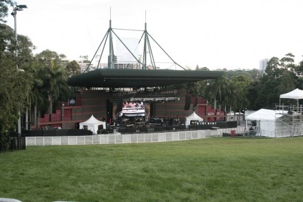 Preparations under-way at Brisbane's Riverstage for Bliss n Eso show.