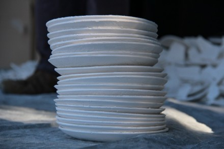Plaster of paris plates are used in the plate smashing contests Photo: Erin Smith