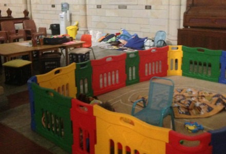 Children's playground set up in a foster care branch