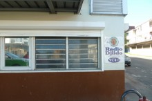 The nondescript office building Radio Djiido broadcasts from