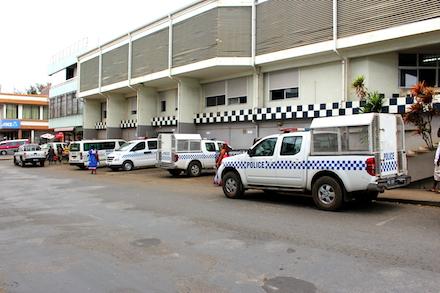 Police cars sitting idle in the Port Vila Station car park.  Photo: Jane Mahoney