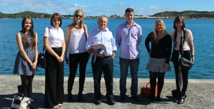 The QUT News team including senior lecturer Lee Duffield (centre).