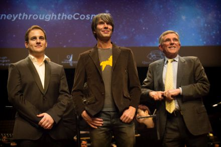 English Violinist Jack Liebeck, Professor Brian Cox OBE and Qld's Arts and Science Minister Ian Walker.