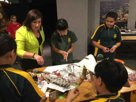 Science Minister Leeanne Enoch talks with the students