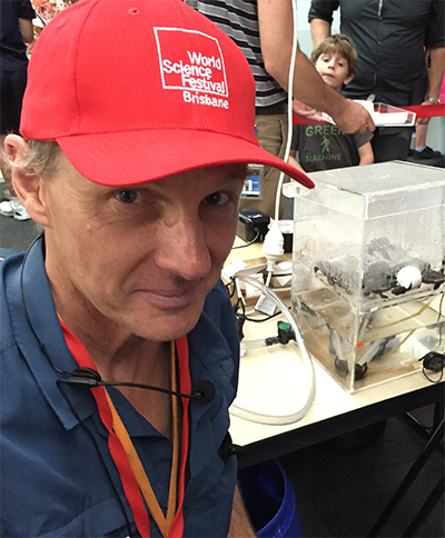 Patrick Couper manning the turtle hatching exhibition at the Queensland Museum.