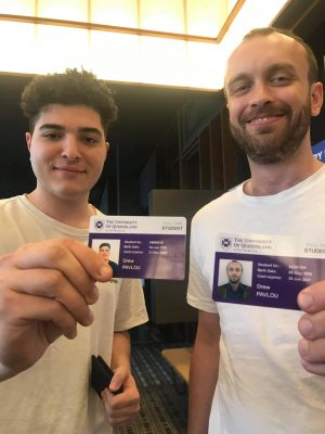 Drew Pavlou and Taylor Wass show off their IDs