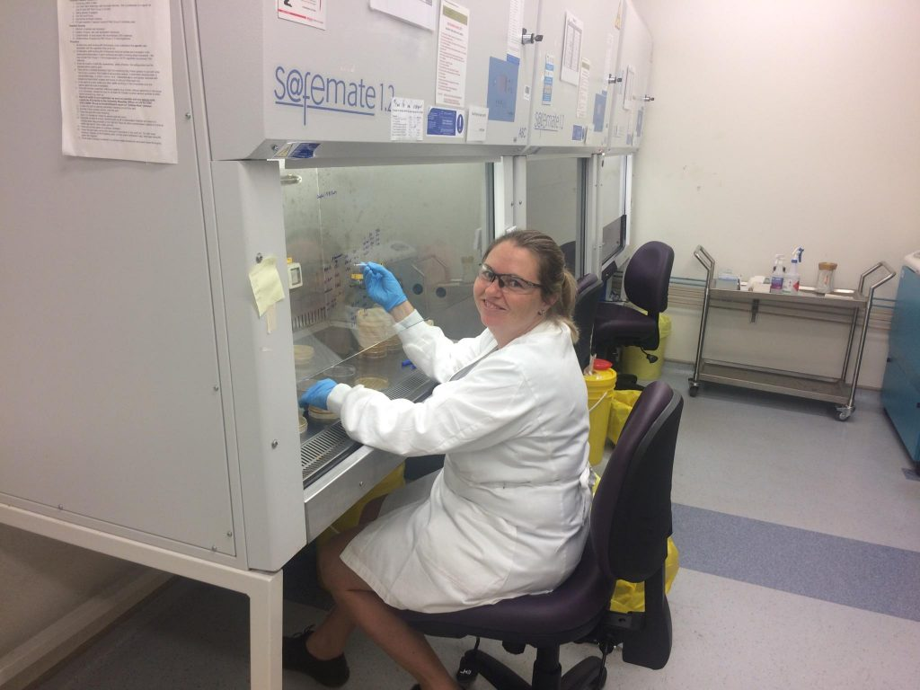 Doctor Amanda Cork working in lab with Group A Streptococcus bacteria.
