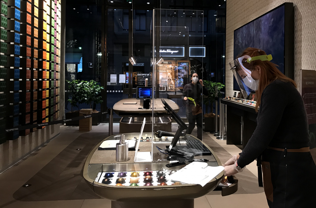 Perspex barriers used to minimise the spread of Covid-19 by separating customers from workers at the Nespresso store.